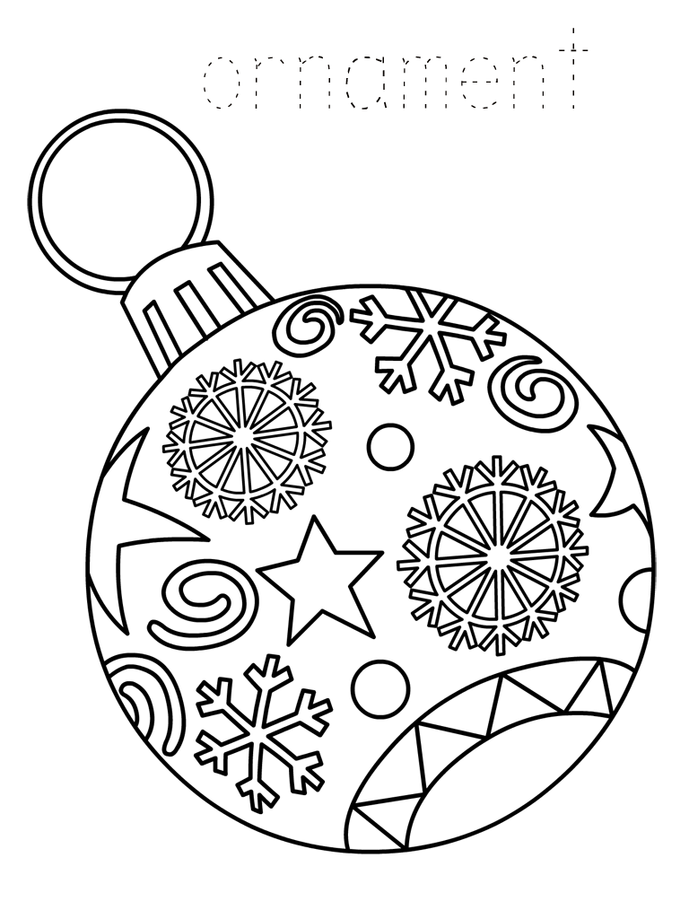 christmas presents coloring page - christmas ornament coloring pages best coloring pages