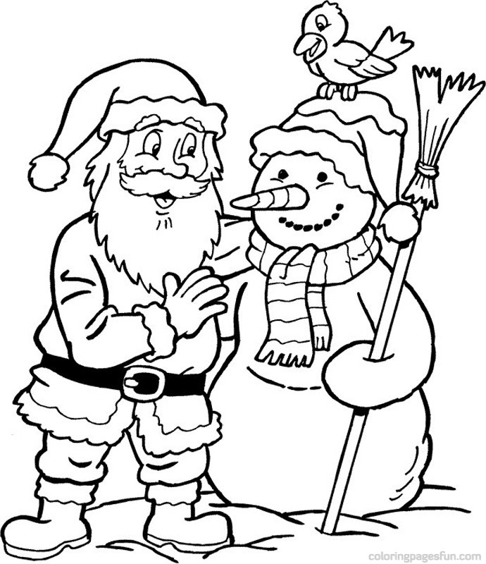 Santa and Frosty - Santa Coloring Pages