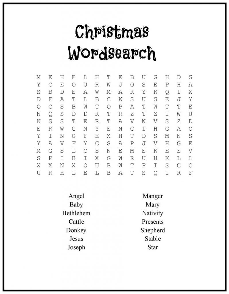 Wordsearch - Printable Christmas Games