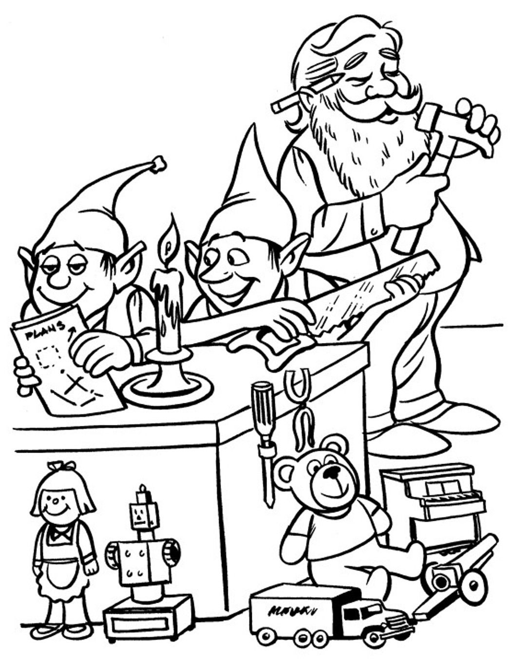 workshop santa coloring pages