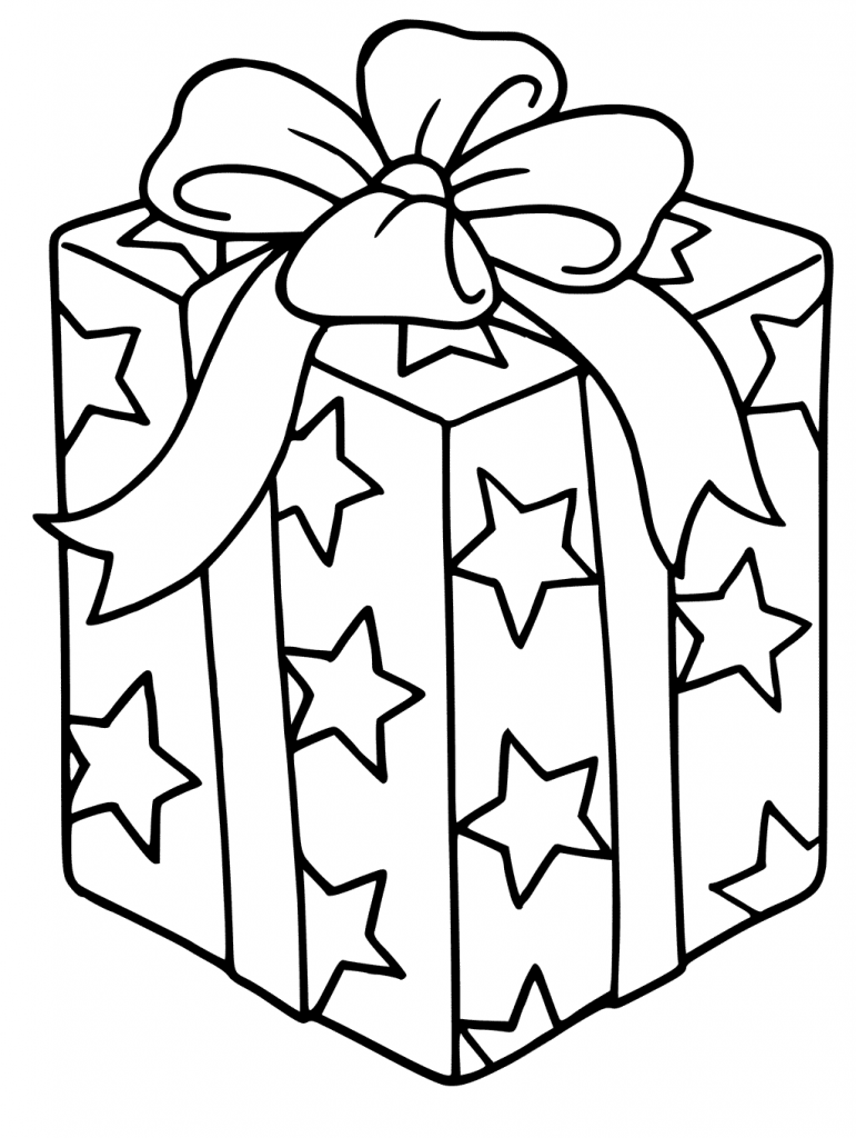 Wrapped Christmas Present Coloring Page