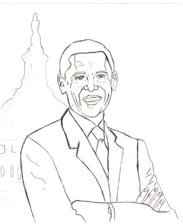 Barack Obama Coloring Page • FREE Printable PDF from PrimaryGames | 786x640