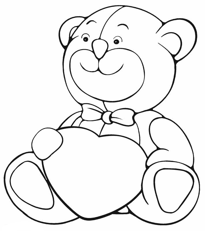 coloring pages for bears with hearts | Valentine Heart Coloring Pages - Best Coloring Pages For Kids
