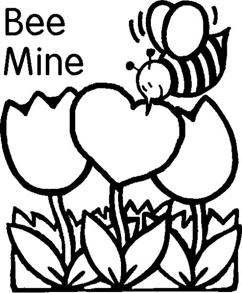 Bee Mine Valentines Day Coloring Pages