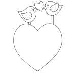 Birds Valentine Heart Coloring Page