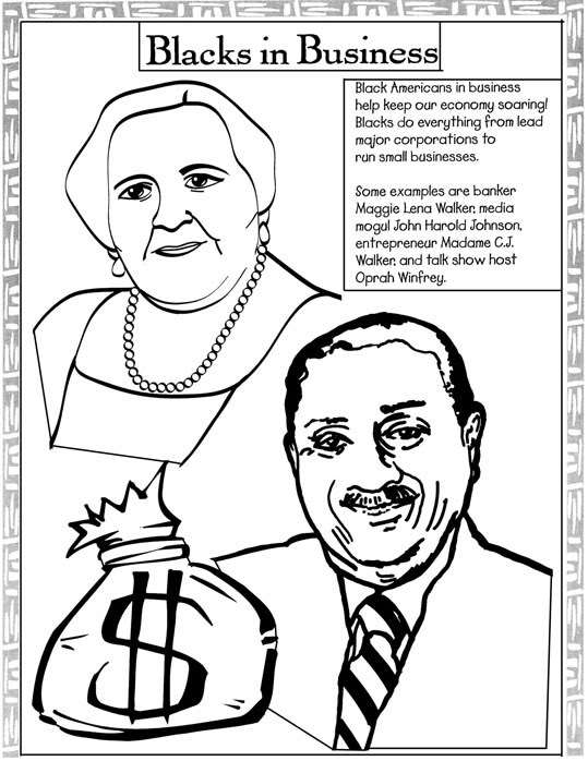 Black history month coloring pages blacks in business