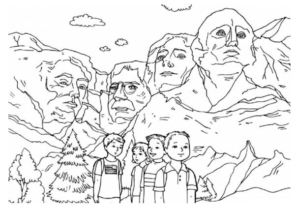 Children at Mt Rushmore Coloring Page