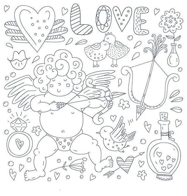 Cupid Valentines Day Coloring Pages for Adults