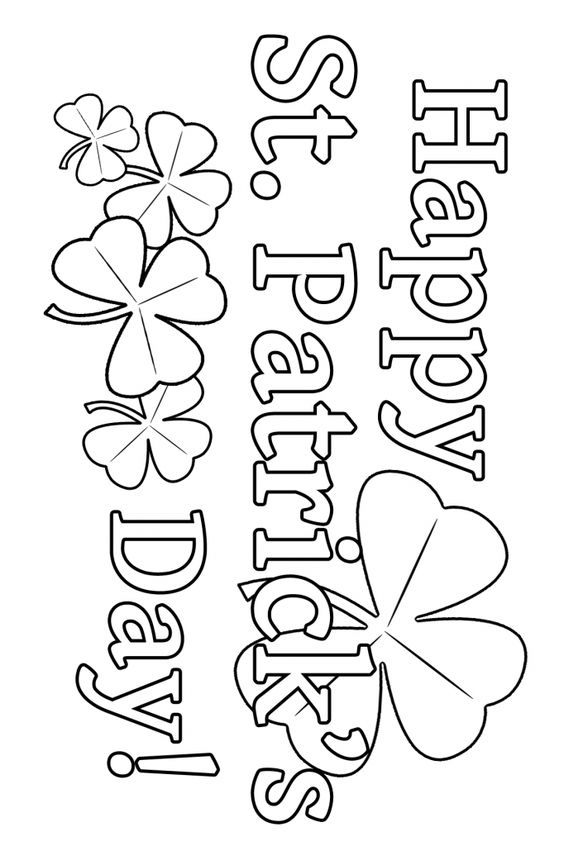 Happy Shamrocks Coloring Page