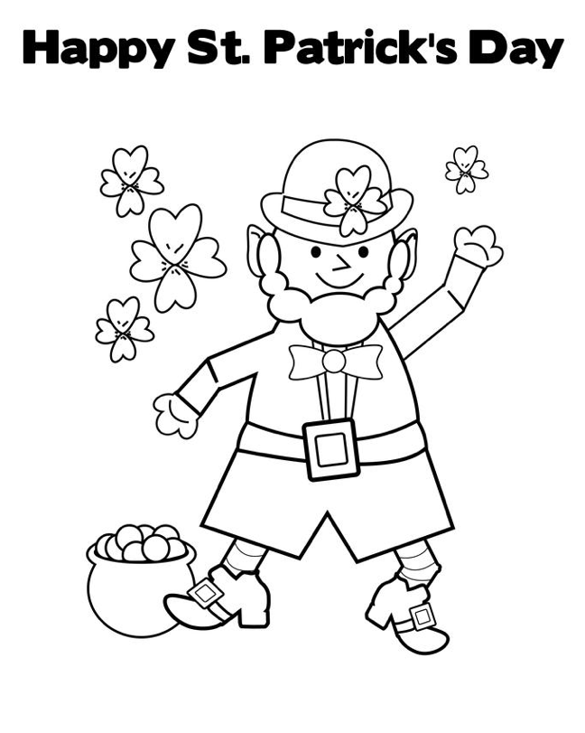 Happy St Patricks Day Coloring Page Leprechaun