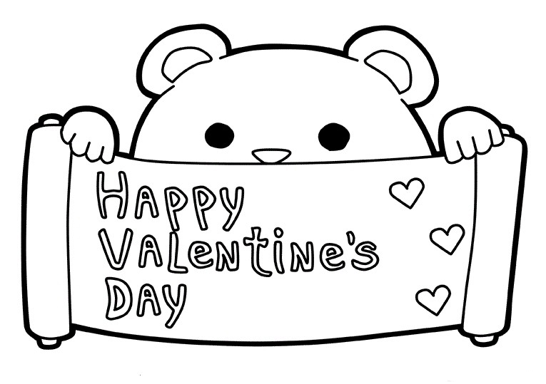 Happy Valentines Day Coloring Pages - Bear