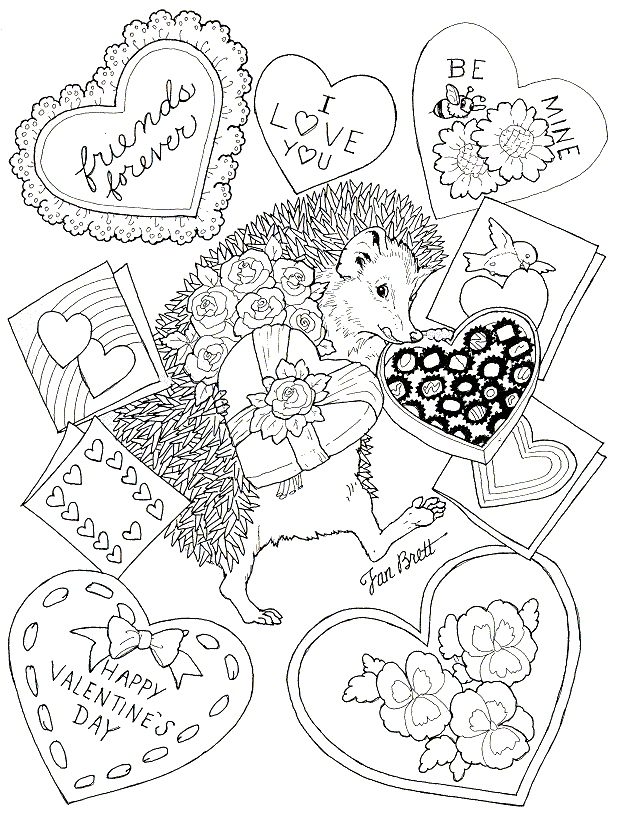 Happy Valentines Day Coloring Pages - Porcupine