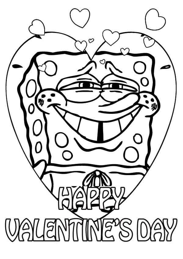 Happy Valentines Day Coloring Pages - Spongebob