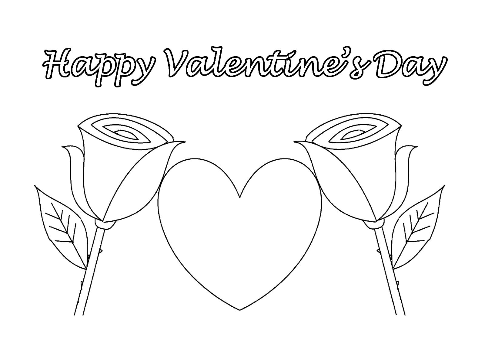 Happy Valentines Day Flowers Coloring Page