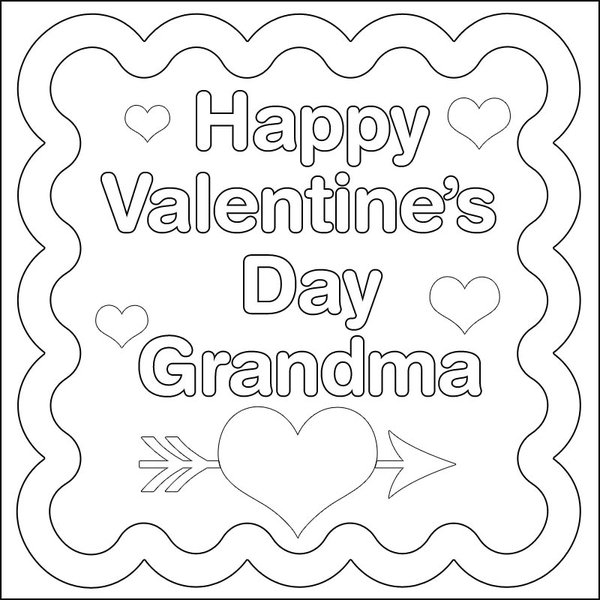 Happy Valentines Day Grandma Coloring Page