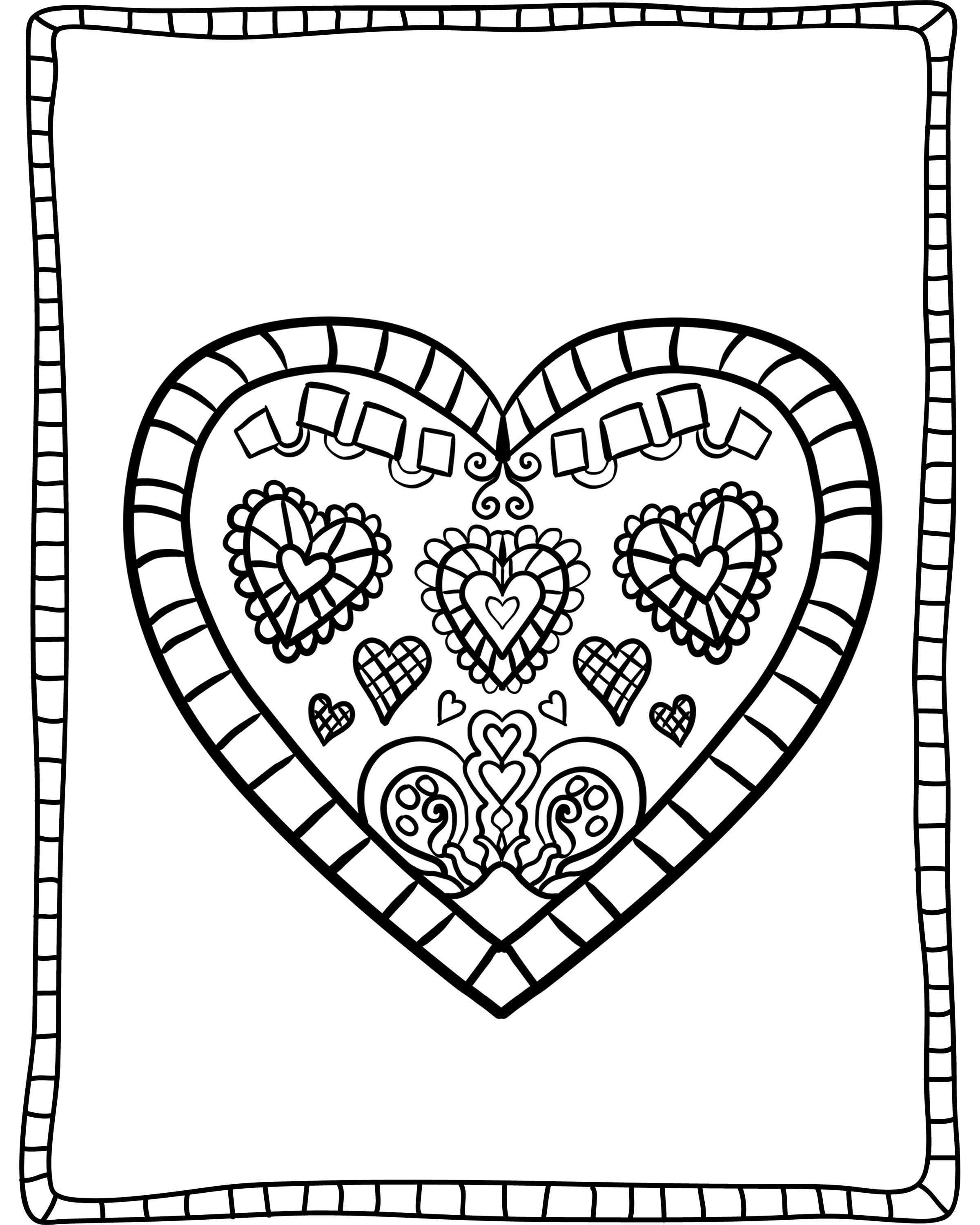 Heart Valentines Day Coloring Page For Adults