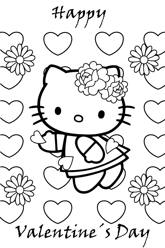 Hello Kitty Happy Valentines Day Coloring