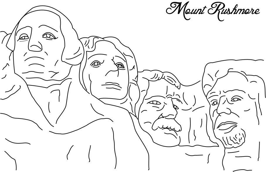 Mount Rushmore - Presidents Day Coloring Pages