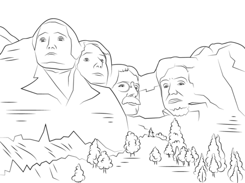 Mt Rushmore Presidents Day Coloring Pages