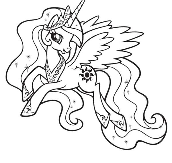 My Little Pony Princess Celestia Coloring Page