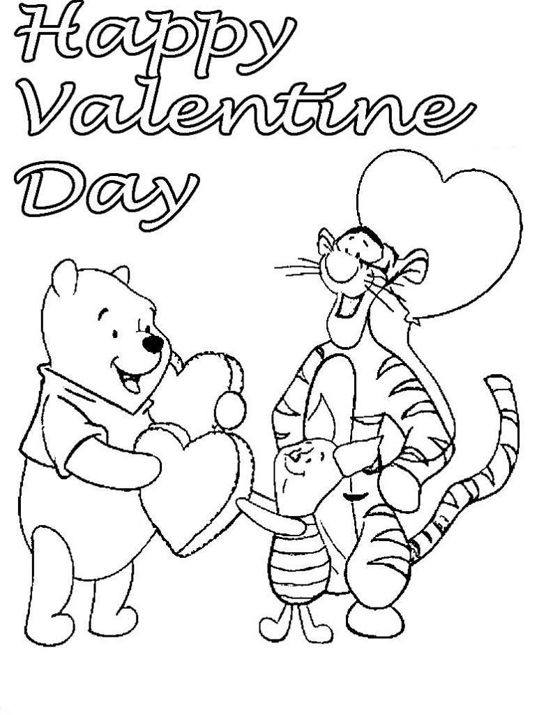 Pooh Happy Valentine Day Coloring Page