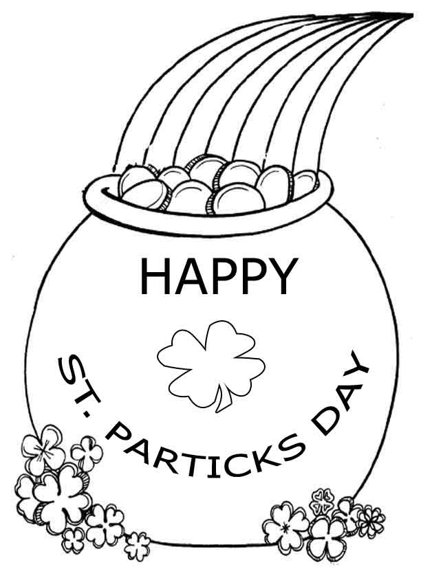 Pot O Gold St Patricks Day Coloring Page