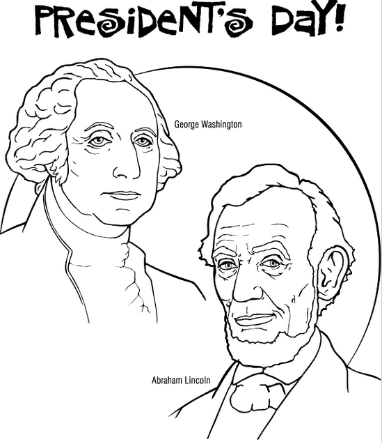 Presidents Day Washington and Lincoln Coloring Page