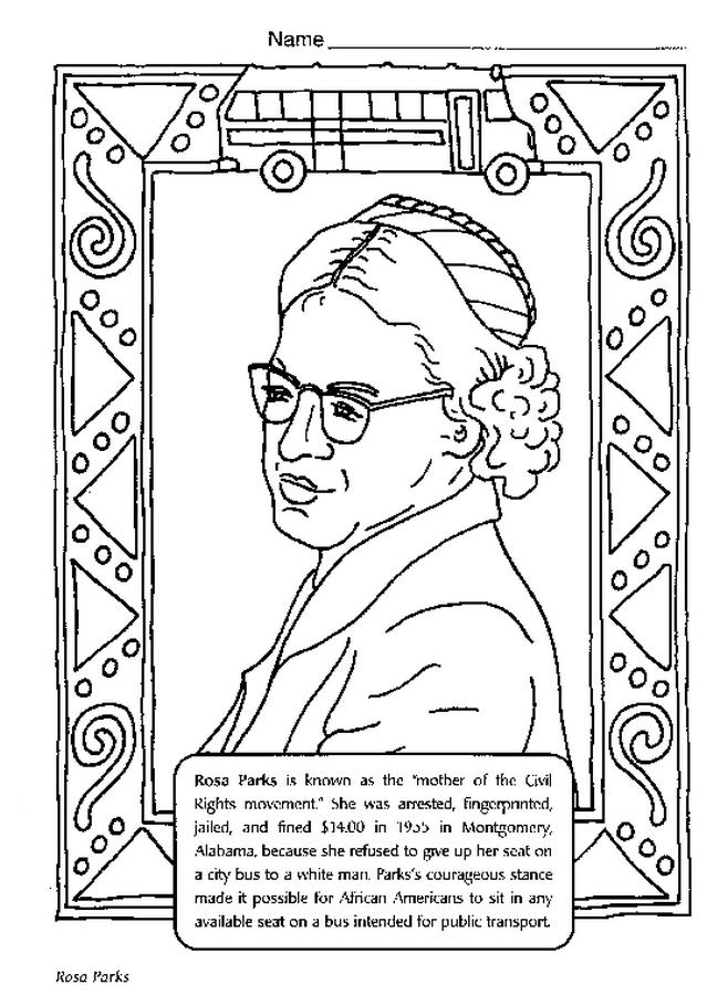 Rosa Parks Printable Coloring Sheet