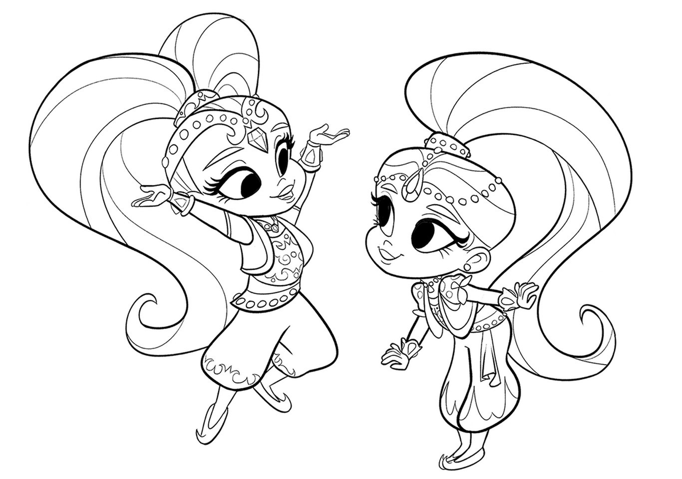 It's just an image of Magic Coloring Pages Shimmer and Shine
