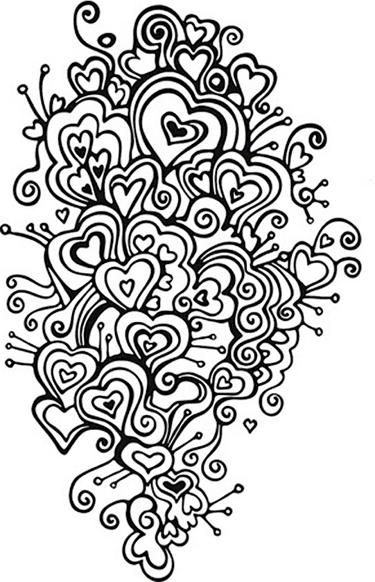 Swirls Valentines Day Coloring Pages for Adults