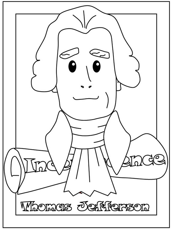 Thomas Jefferson Presidents Day Coloring Pages