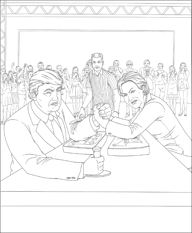 Trump Clinton Coloring Page