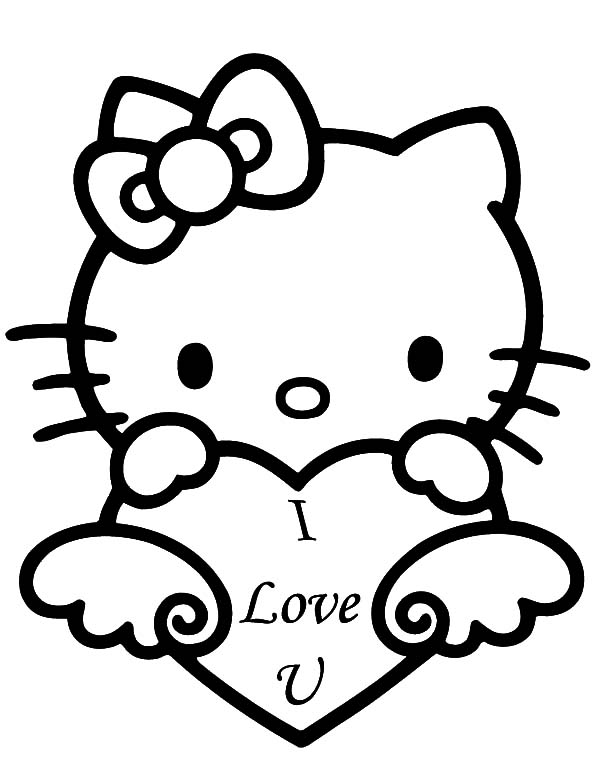 Valentines Day Coloring Pages - Hello Kitty