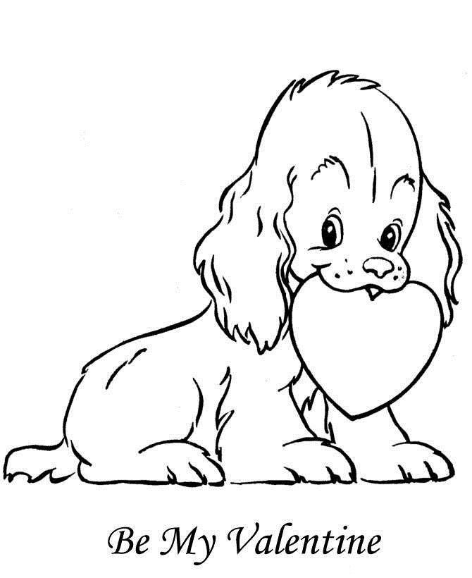 Valentines Day Coloring Pages Puppy
