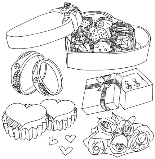 Valentines Day Gifts Coloring Pages for Adults