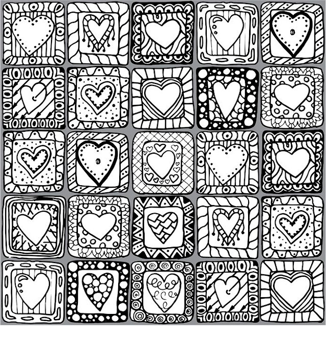 Valentines Day Mosaic Coloring Pages for Adults