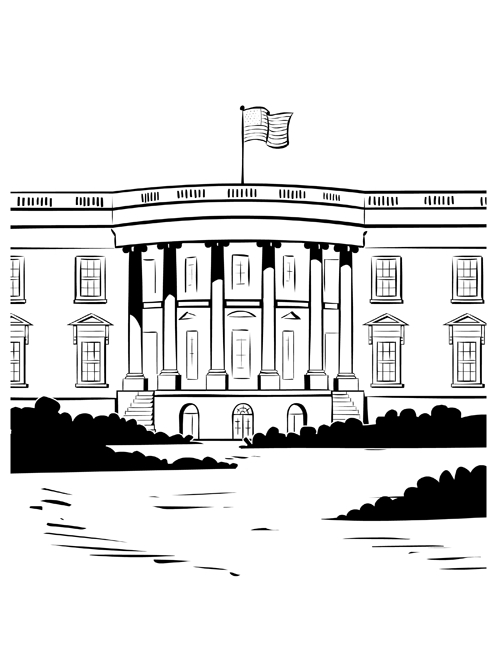 White House Presidents Day Coloring Page
