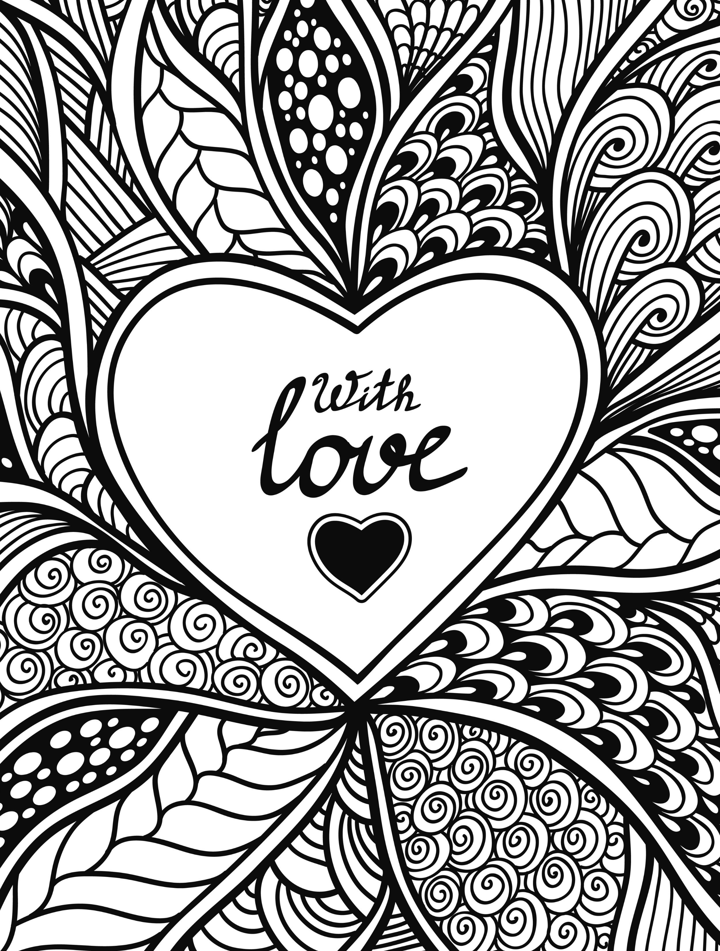 With love valentines day coloring pages for adults