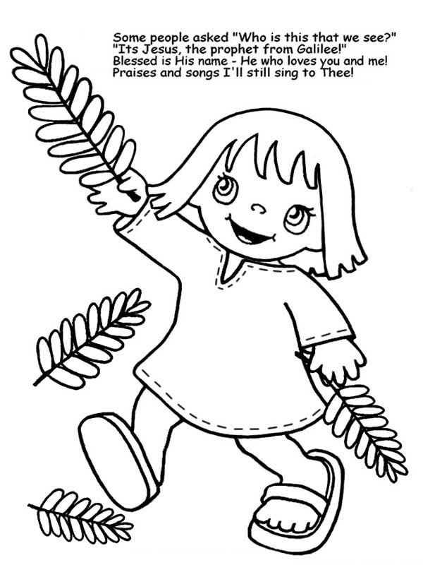 Child On Palm Sunday Coloring Page