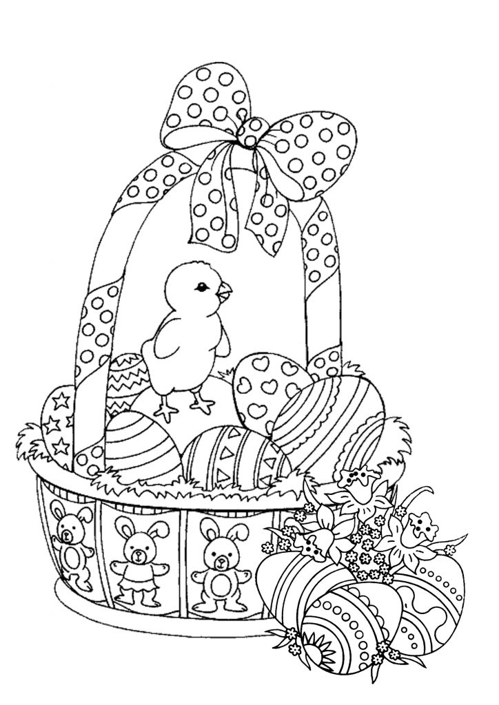 Easter Basket Coloring Pages for Adults