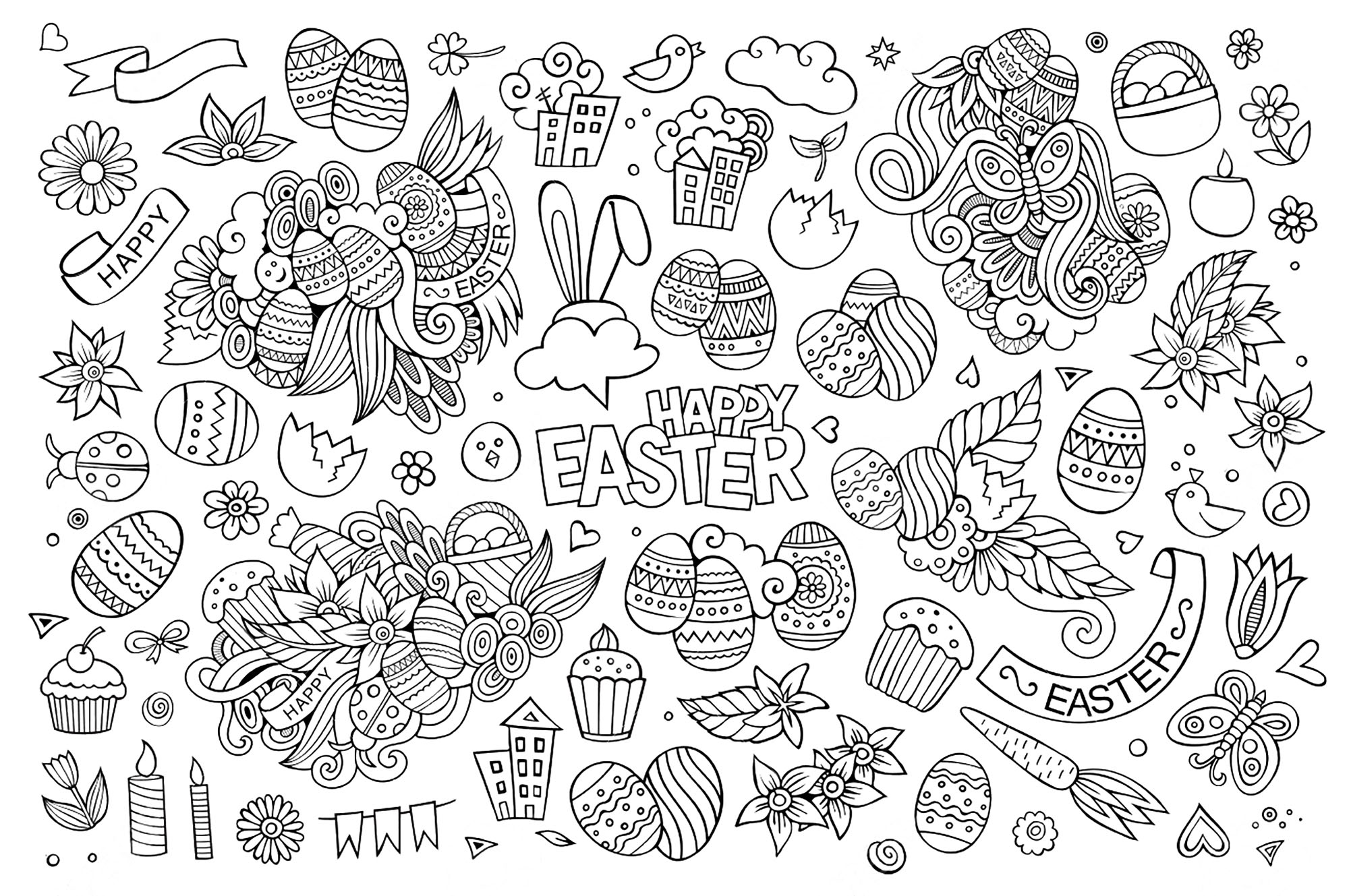 Easter Doodle Coloring Pages for Adults
