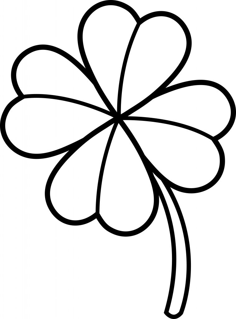 Easy Four Leaf Clover Coloring Pages
