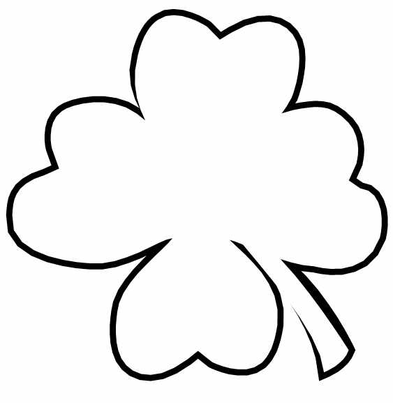 Four Leaf Clover Coloring Page Printable