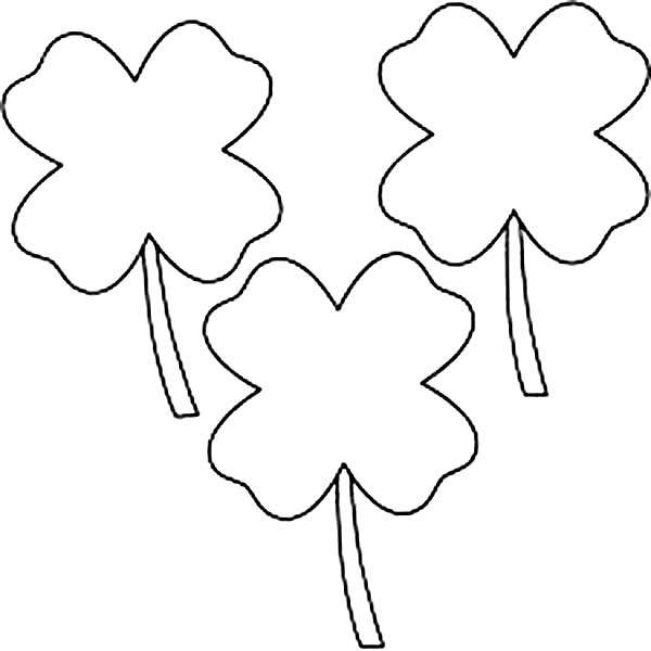 Four Leaf Clover Coloring Pages Outline