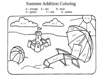 Free Addition Color by Number Sheets