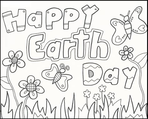 Happy earth day coloring sheet