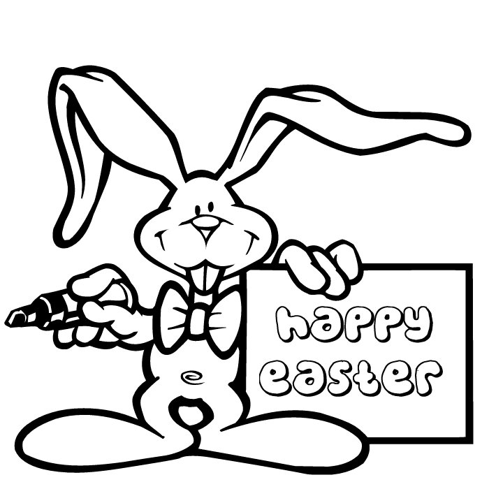 Happy Easter Bunny Coloring Pages