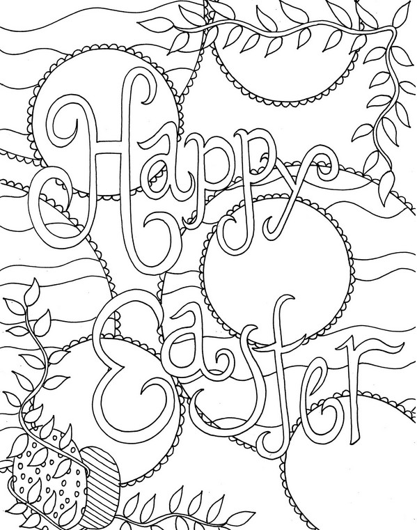 Happy Easter Coloring Pages for Adults