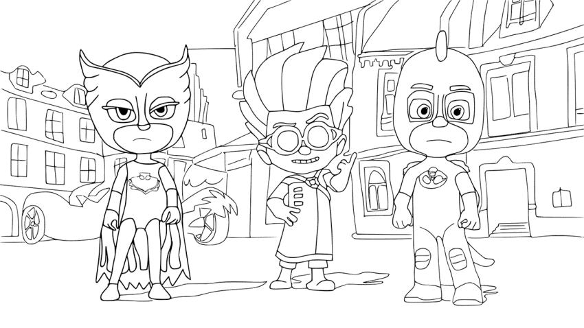 PJ Masks Black and White Coloring Pages
