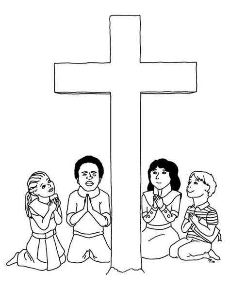 Praying Good Friday Coloring Pages